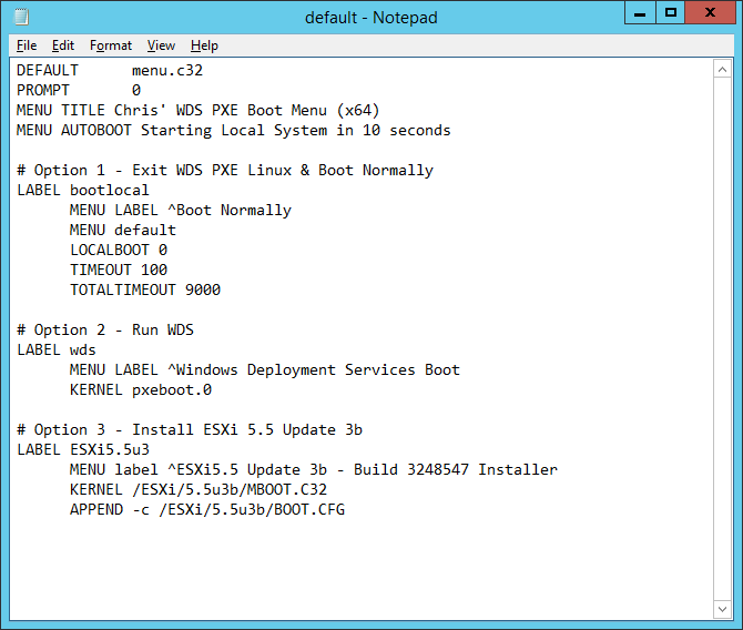 Deploying VMware ESXi via Windows Deployment Services Server