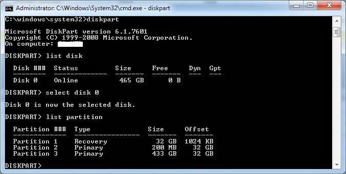 BCD Error Diskpart