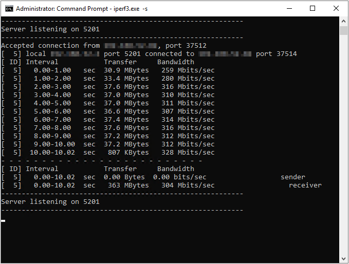 Pixel to VM iPerf Server